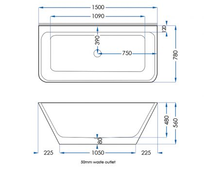 Evolve Solid Surface Bath 1500mm Tech
