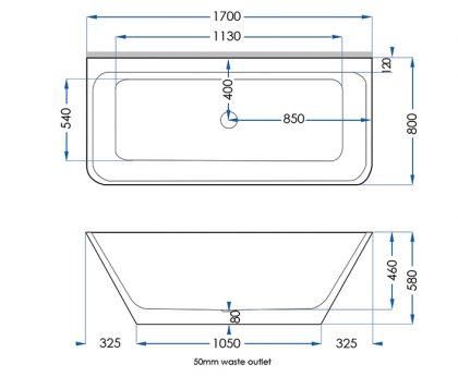 Evolve Solid Surface Bath 1700mm Tech