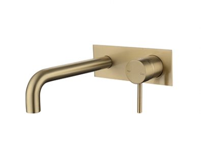 Spin In Wall Basin Mixer (Brushed Brass)>