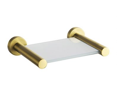 Spin Glass Shelf 150mm (Brushed Brass)>