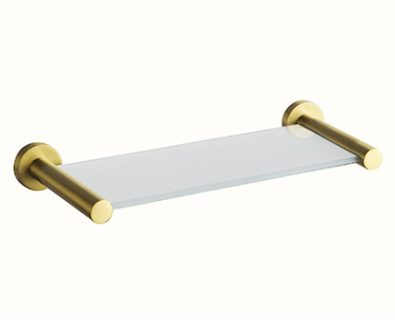 Spin Glass Shelf 400mm (Brushed Brass)>