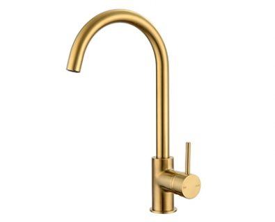 Spin Round Gooseneck Sink Mixer (Brushed Brass)>