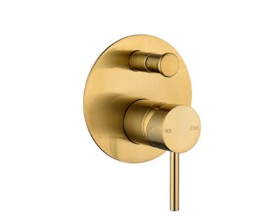 Spin In Wall Mixer with Diverter (Brushed Brass)>