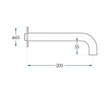 Spin Basin Wall Spout 200mm Tech