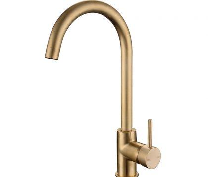 Spin Round Gooseneck Sink Mixer Brushed Brass