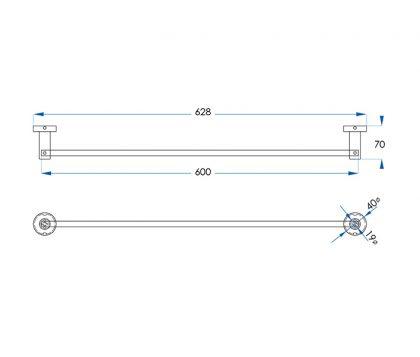 Spin Single Towel Rail 600mm Tech