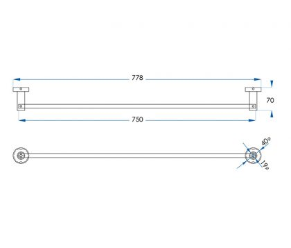 Spin Single Towel Rail 750mm Tech