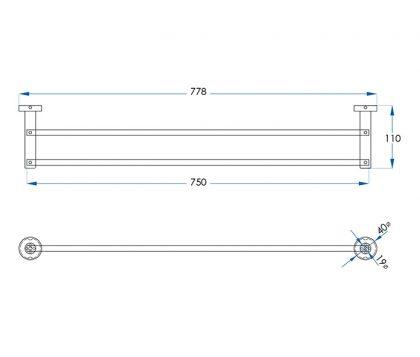 Spin Double Towel Rail 750mm Tech