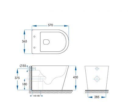 Ollie Rimless Floor Pan Toilet - Tech Drawing