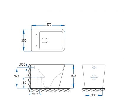 Ottimo Rimless Floor Pan Toilet - Tech Drawing