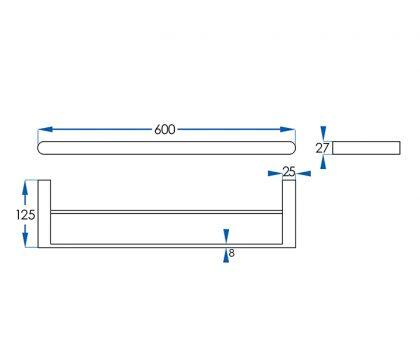 Eden Double Towel Rail 600mm Tech