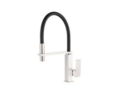 Chevron Pull Down Sink Mixer (Brushed Nickel/Black)>