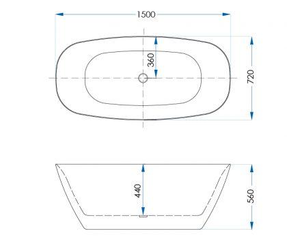 Acacia Matte White Freestanding Bath 1500mm Tech