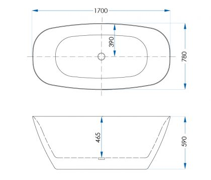Acacia Matte White Freestanding Bath 1700mm