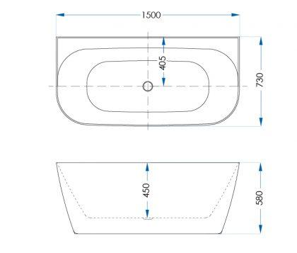 Aspen Matte White Freestanding Bath 1500mm Tech