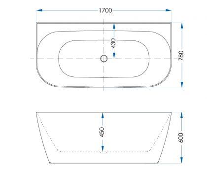 Aspen Freestanding Bath Matte White 1700mm Tech