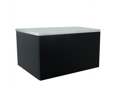 Eden Matte Black Wall Mount Vanity Cabinet 600mm>