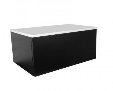 Eden Matte Black Wall Mount Vanity Cabinet 750mm>