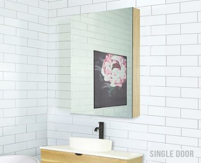 Osca Ceiling Height Timber Mirrored Cabinet 600mm>