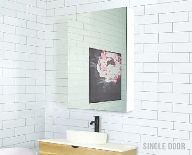 Osca Ceiling Height White Mirrored Cabinet 600mm>