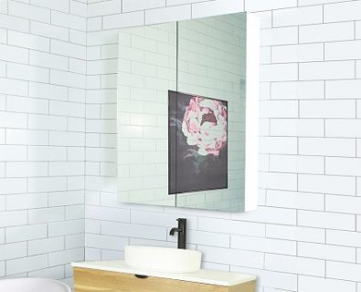 Osca Ceiling Height White Mirrored Cabinet 750mm>