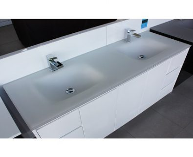Aurora Matte White Double Bowl Glass Vanity Top 1500mm>