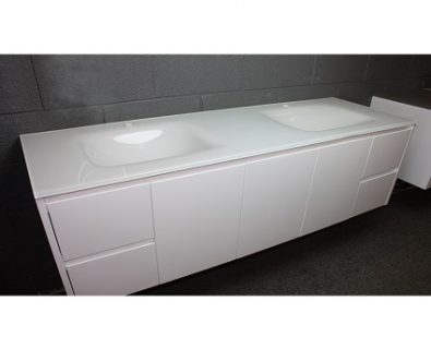 Aurora White Double Bowl Glass Vanity Top 1500mm>