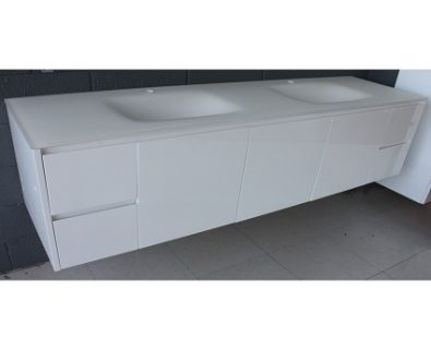 Aurora Matte White Double Bowl Glass Vanity Top 1800mm>