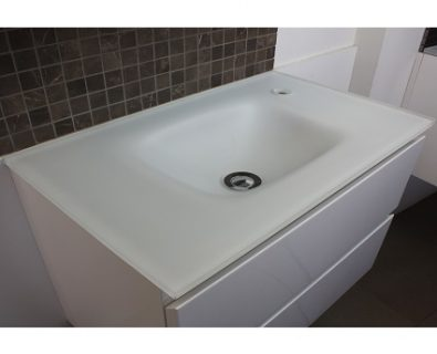 Essence Matte White Glass Vanity Top 600mm>