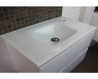 Essence White Glass Vanity Top 600mm>