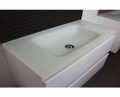 Essence Matte White Glass Vanity Top 750mm>