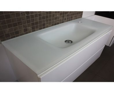 Essence Matte White Glass Vanity Top 900mm>