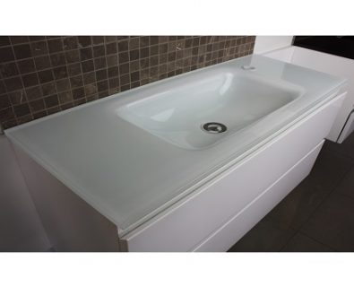 Essence White Glass Vanity Top 900mm>