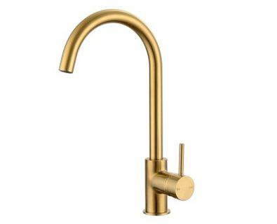 Spin Round Gooseneck Sink Mixer (Brushed Brass)>