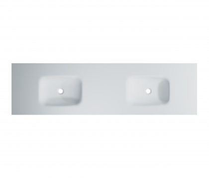 FLOW Solid Surface Vanity Top, w/ Integrated Basins 1800mm Matte White
