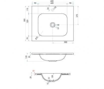 FLOW Solid Surface Vanity Top, w/ Integrated Basin 600mm Matte White Tech