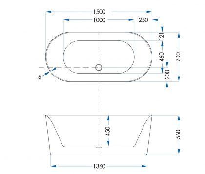 Moana Freestanding Bath 1500mm Tech