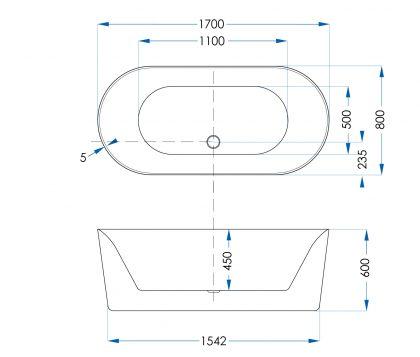 Moana Freestanding Bath 1700mm Tech