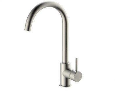Spin Round Gooseneck Sink Mixer (Brushed Nickel)>