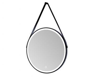 Sierra Round LED Mirror w/ Matte Black Frame & Hanging Strap 800mm>