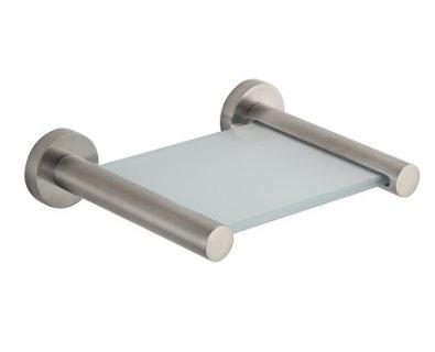 SPIN Glass Shelf Brushed Nickel 150mm>