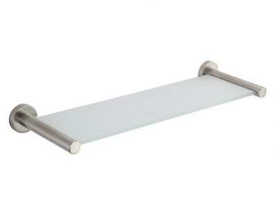 SPIN Glass Shelf Brushed Nickel 400mm>